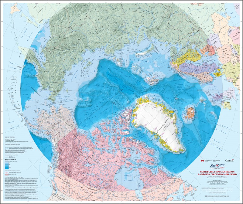 Map of the North Circumpolar Region [Bilingual]