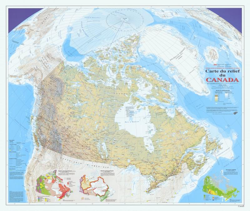 Carte du relief du Canada