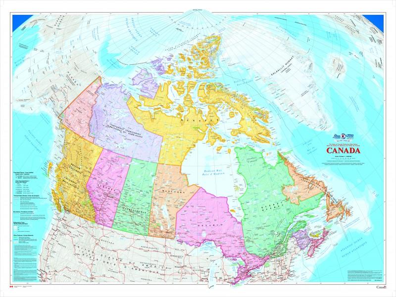 Grande carte murale du Canada [bilingue]