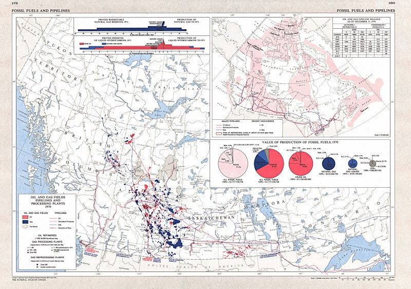 Oil and Gas Fields, Pipelines and Processing Plants, 1970, Western Canada